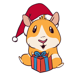 Christmas present guinea pig cartoon