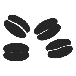 Icono plano de granos de café