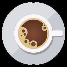 Icono de vista superior de la taza de café