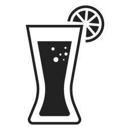 Coca con icono plano de vidrio de limón