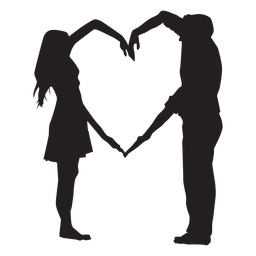 Couple heart shape arms silhouette
