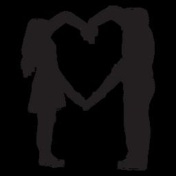 Silhueta de braços de forma de coração de casal