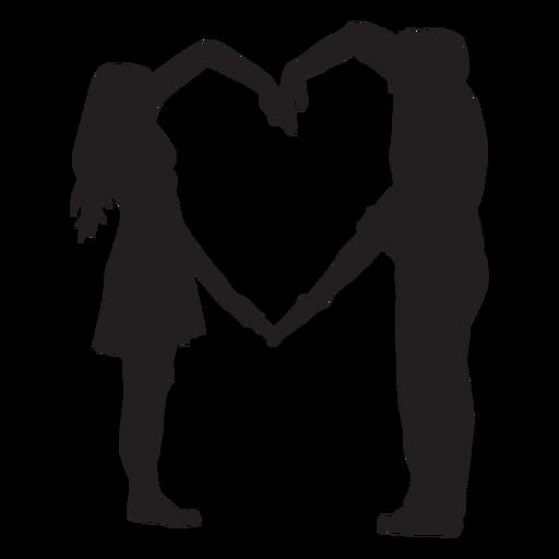 Casal silhueta de braços em formato de coração