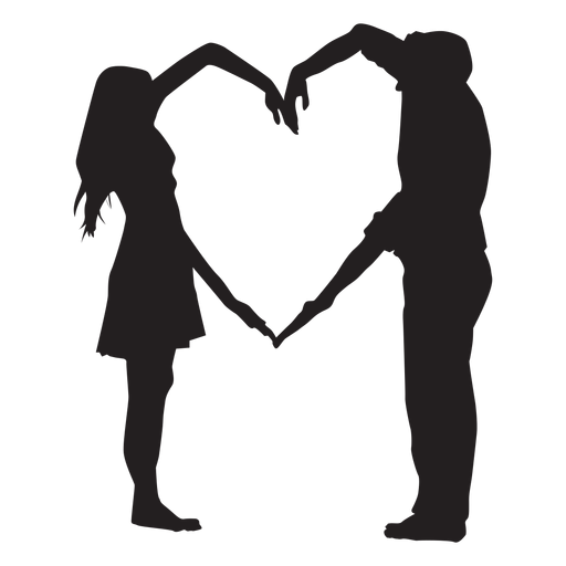 Couple heart shape arms silhouette Transparent PNG