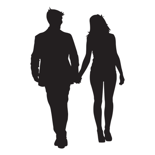 Couple holding hands silhouette Transparent PNG