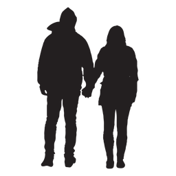 Couple in jacket silhouette