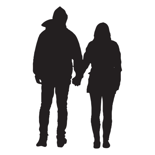 Couple in jacket silhouette Transparent PNG