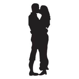 Couple kissing sweetly silhouette