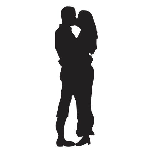 Couple kissing sweetly silhouette Transparent PNG