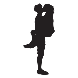 Couple romantic kiss silhouette