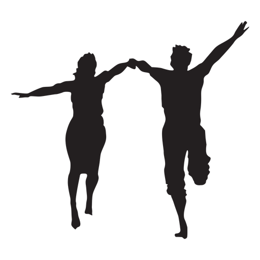 Couple running happy silhouette Transparent PNG