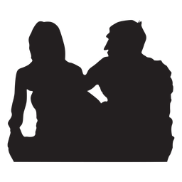 Paar sitzt Silhouette