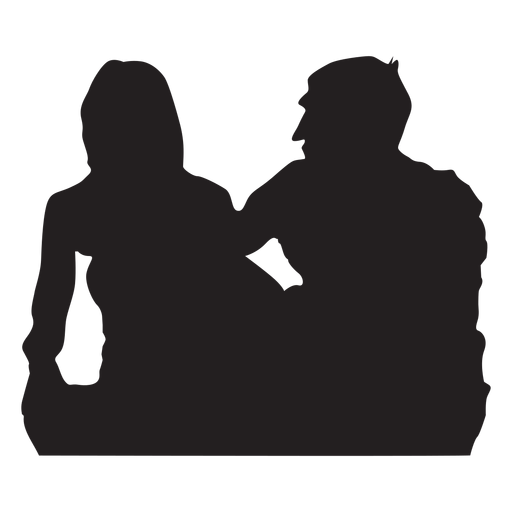 Couple sitting down silhouette Transparent PNG
