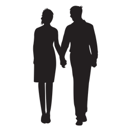 Couple standing holding hands silhouette