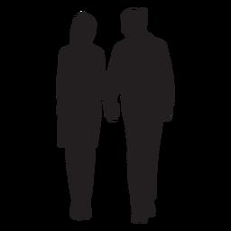 Paar stehendes Händchenhalten Schattenbild