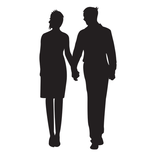 Couple standing holding hands silhouette Transparent PNG