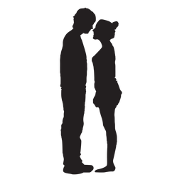 Couple staring at each other silhouette