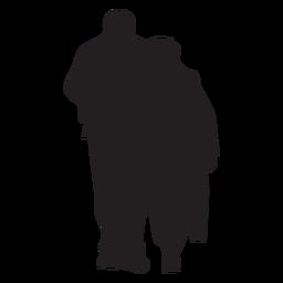 Pareja caminando juntos silueta