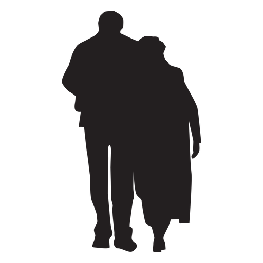 Couple walking together silhouette Transparent PNG