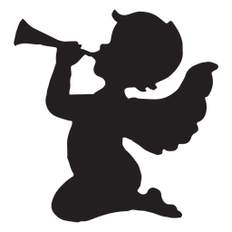 Cupid playing the trumpet silhouette