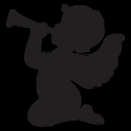 Cupido tocando la silueta de la trompeta
