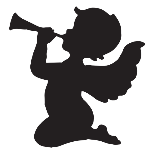 Cupid playing the trumpet silhouette Transparent PNG