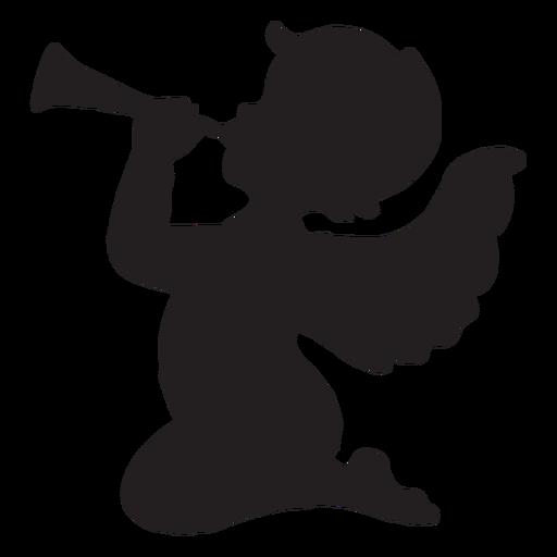 Cupido Tocando A Silhueta Da Trombeta Baixar Png Svg Transparente