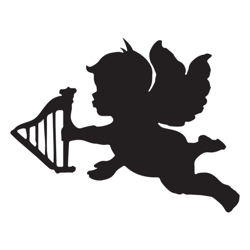 Cupid with an arrow silhouette Transparent PNG