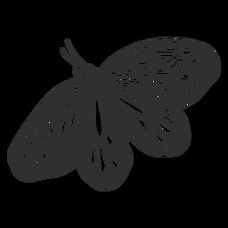 Linda mariposa volando silueta