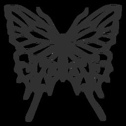 Silueta de vuelo de mariposa detallada
