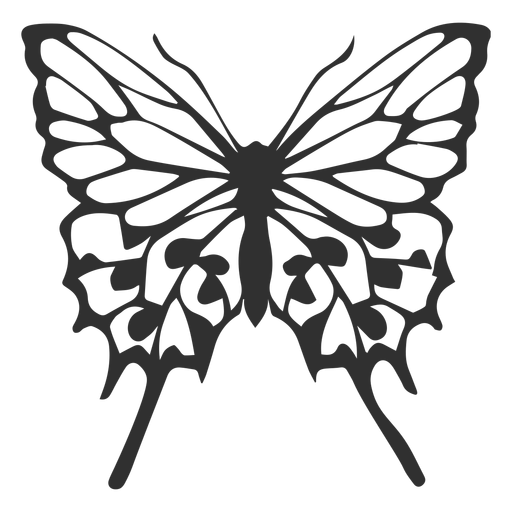 Detailed butterfly flying silhouette