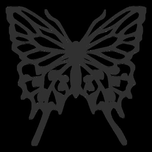 Silueta de vuelo de mariposa detallada Transparent PNG