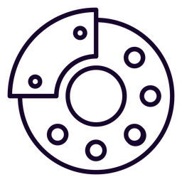 Icono de trazo de freno de disco