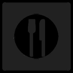 Icono cuadrado de utensilios de comer