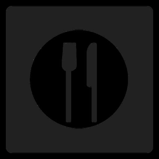 Icono cuadrado de utensilios para comer