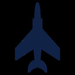 Silhueta de vista superior do avião de caça