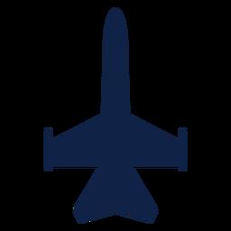 Silhueta de vista superior de avião de caça