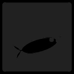 Icono cuadrado de pez y cebo