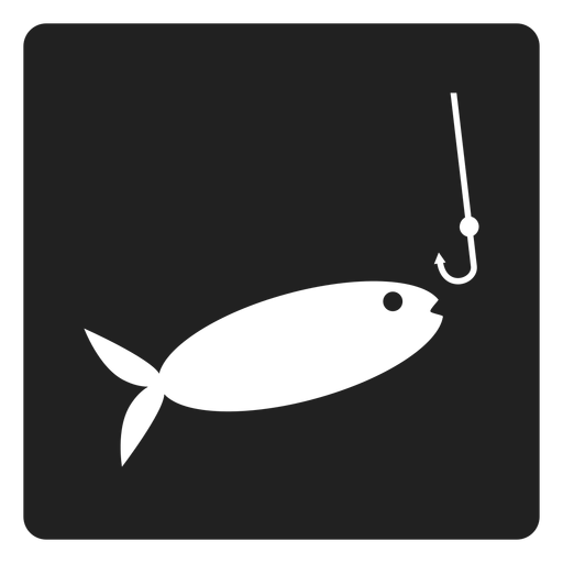 Fish and bait square icon Transparent PNG