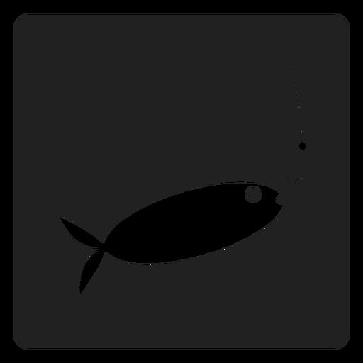 Icono cuadrado de pez y cebo Transparent PNG
