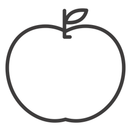 Flat apple fruit stroke icon