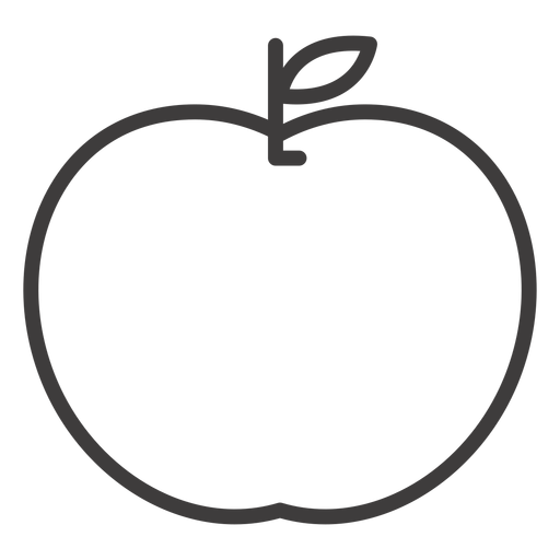 Flat apple fruit stroke icon Transparent PNG