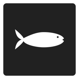 Flat fish square icon