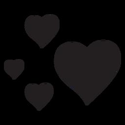 Silhueta de quatro corações