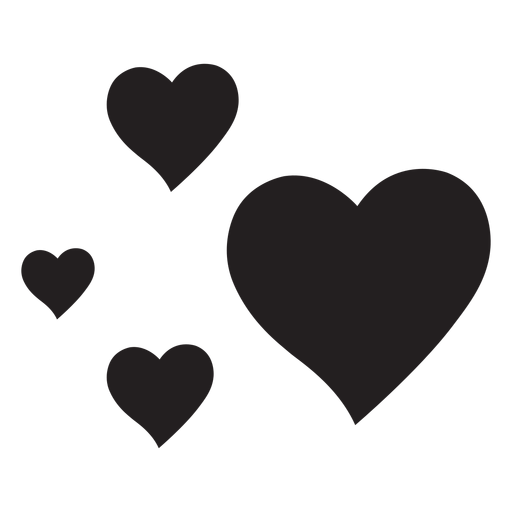 Four hearts silhouette Transparent PNG