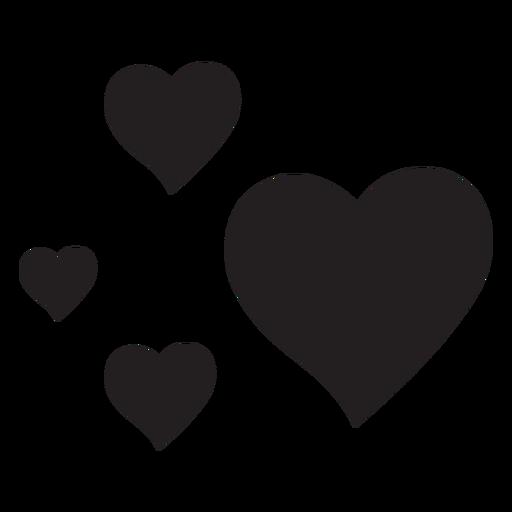 Silhueta de quatro corações Transparent PNG
