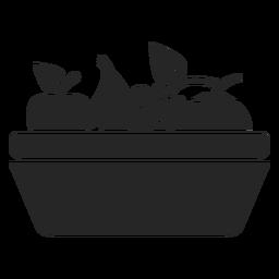 Ícone plana cesta de frutas