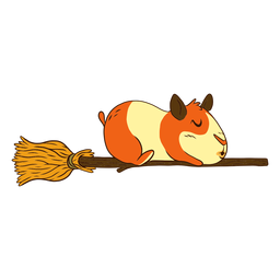 Guinea pig on broom cartoon