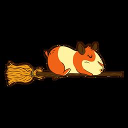 Guinea pig on broom cartoon