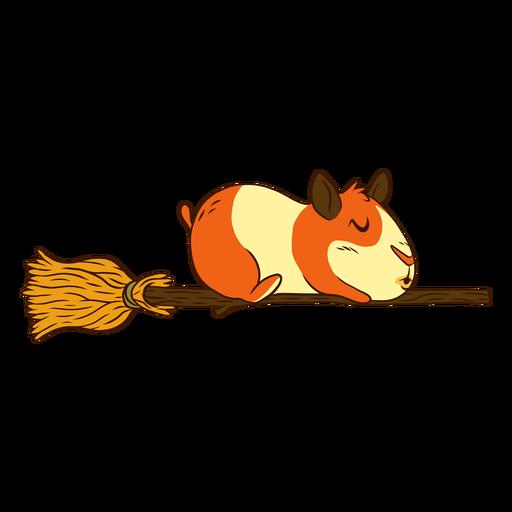Guinea pig on broom cartoon Transparent PNG